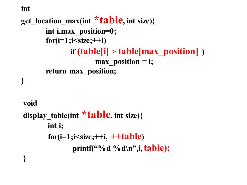 int get_location_max(int *table, int size){ int i,max_position=0; for(i=1;i<size;++i) if (table[i] > table[max_position] )